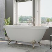 59'' White Acrylic Double Ended Clawfoot Bathtub without Faucet Holes and Complete Brushed Nickel Plumbing Package, British Telephone Style Faucet with Hand Held Shower