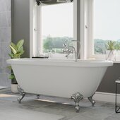 59'' White Acrylic Double Ended Clawfoot Bathtub without Faucet Holes and Complete Polished Chrome Plumbing Package, British Telephone Style Faucet with Hand Held Shower