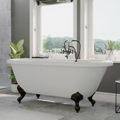 59'' White Acrylic Double Ended Clawfoot Bathtub without Faucet Holes and Complete Oil Rubbed Bronze Plumbing Package, British Telephone Style Faucet with Hand Held Shower