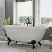 71'' White Acrylic Double Ended Clawfoot Bathtub with 7'' Deck Mount Faucet Drillings and Complete Oil Rubbed Bronze Plumbing Package, Deckmount Gooseneck Faucet with Hand Held Shower