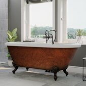 59'' Acrylic Double Ended Clawfoot Bathtub with 7'' Deck Mount Faucet Drillings, Faux Copper Bronze Exterior Finish and Oil Rubbed Bronze Feet