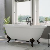 59'' White Acrylic Double Ended Clawfoot Bathtub with 7'' Deck Mount Faucet Drillings, Oil Rubbed Bronze Feet