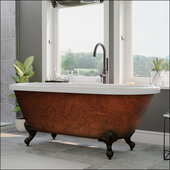 70'' Acrylic Double Ended Clawfoot Bathtub with no Faucet Holes, Faux Copper Bronze Exterior Finish and Oil Rubbed Bronze Feet