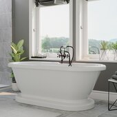59'' White Acrylic Double Ended Pedestal Bathtub with 7'' Deck Mount Faucet Drillings