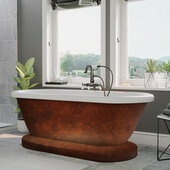 59'' Acrylic Double Ended Pedestal Bathtub with no Faucet Holes, Faux Copper Bronze Exterior Finish