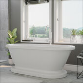 59'' White Acrylic Double Ended Pedestal Bathtub without Faucet Holes