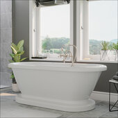 59'' White Acrylic Double Ended Pedestal Bathtub without Faucet Holes and Complete Brushed Nickel Plumbing Package, British Telephone Style Faucet with Hand Held Shower