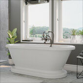 59'' White Acrylic Double Ended Pedestal Bathtub without Faucet Holes and Complete Oil Rubbed Bronze Plumbing Package, British Telephone Style Faucet with Hand Held Shower