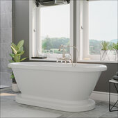 59'' White Acrylic Double Ended Pedestal Bathtub without Faucet Holes and Complete Brushed Nickel Plumbing Package, Gooseneck Style Faucet with Hand Held Shower