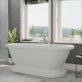 59'' White Acrylic Double Ended Pedestal Bathtub without Faucet Holes and Complete Polished Chrome Plumbing Package, Gooseneck Style Faucet with Hand Held Shower