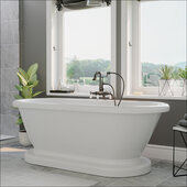 59'' White Acrylic Double Ended Pedestal Bathtub without Faucet Holes and Complete Oil Rubbed Bronze Plumbing Package, Gooseneck Style Faucet with Hand Held Shower