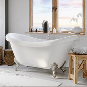69'' White Acrylic Double Slipper Clawfoot Bathtub without Faucet Holes and Complete Polished Chrome Plumbing Package, Modern Gooseneck Style Faucet with Shower Wand