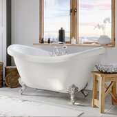 69'' White Acrylic Double Slipper Clawfoot Bathtub with 7'' Deck Mount Faucet Drillings and Complete Polished Chrome Plumbing Package, British Telephone Faucet & Hand Held Shower with 2'' Risers