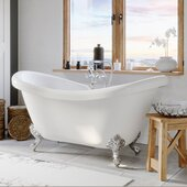 69'' White Acrylic Double Slipper Clawfoot Bathtub with 7'' Deck Mount Faucet Drillings and Complete Polished Chrome Plumbing Package, British Telephone Faucet & Hand Held Shower with 6'' Risers