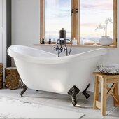 69'' White Acrylic Double Slipper Clawfoot Bathtub with 7'' Deck Mount Faucet Drillings and Complete Oil Rubbed Bronze Plumbing Package, British Telephone Faucet & Hand Held Shower with 6'' Risers
