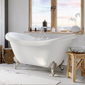 69'' White Acrylic Double Slipper Clawfoot Bathtub with 7'' Deck Mount Faucet Drillings and Complete Brushed Nickel Plumbing Package, Deckmount Gooseneck Faucet with Hand Held Shower