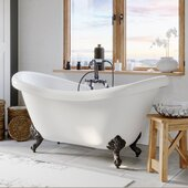 69'' White Acrylic Double Slipper Clawfoot Bathtub with 7'' Deck Mount Faucet Drillings and Complete Oil Rubbed Bronze Plumbing Package, Deckmount Gooseneck Faucet with Hand Held Shower