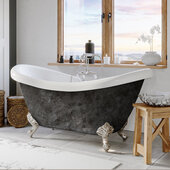 69'' Acrylic Double Slipper Clawfoot Bathtub with 7'' Deck Mount Faucet Drillings, Scorched Platinum Exterior Finish and Brushed Nickel Feet
