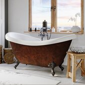 69'' Acrylic Double Slipper Clawfoot Bathtub with 7'' Deck Mount Faucet Drillings, Faux Copper Bronze Exterior Finish and Oil Rubbed Bronze Feet