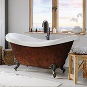 69'' Acrylic Double Slipper Clawfoot Bathtub with no Faucet Holes, Faux Copper Bronze Exterior Finish and Oil Rubbed Bronze Feet
