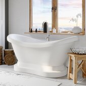 69'' White Acrylic Double Slipper Pedestal Bathtub without Faucet Holes and Complete Brushed Nickel Plumbing Package, Modern Gooseneck Style Faucet with Shower Wand