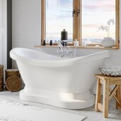 69'' White Acrylic Double Slipper Pedestal Bathtub without Faucet Holes and Complete Polished Chrome Plumbing Package, British Telephone Style Faucet with Hand Held Shower