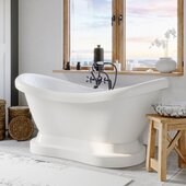 69'' White Acrylic Double Slipper Pedestal Bathtub without Faucet Holes and Complete Oil Rubbed Bronze Plumbing Package, British Telephone Style Faucet with Hand Held Shower