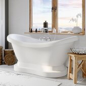 69'' White Acrylic Double Slipper Pedestal Bathtub without Faucet Holes and Complete Brushed Nickel Plumbing Package, Gooseneck Style Faucet with Hand Held Shower