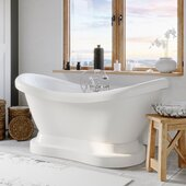 69'' White Acrylic Double Slipper Pedestal Bathtub with 7'' Deck Mount Faucet Drillings and Complete Brushed Nickel Plumbing Package, British Telephone Faucet & Hand Held Shower with 2'' Risers