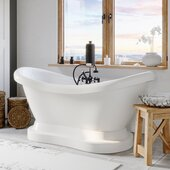 69'' White Acrylic Double Slipper Pedestal Bathtub with 7'' Deck Mount Faucet Drillings and Complete Oil Rubbed Bronze Plumbing Package, British Telephone Faucet & Hand Held Shower with 2'' Risers