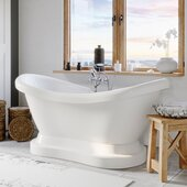69'' White Acrylic Double Slipper Pedestal Bathtub with 7'' Deck Mount Faucet Drillings and Complete Polished Chrome Plumbing Package, British Telephone Faucet & Hand Held Shower with 6'' Risers