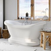 69'' White Acrylic Double Slipper Pedestal Bathtub with 7'' Deck Mount Faucet Drillings and Complete Polished Chrome Plumbing Package, Deckmount Gooseneck Faucet with Hand Held Shower