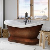 69'' Acrylic Double Slipper Pedestal Bathtub with 7'' Deck Mount Faucet Drillings, Faux Copper Bronze Exterior Finish and Oil Rubbed Bronze Feet
