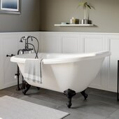 67'' White Acrylic Slipper Clawfoot Bathtub without Faucet Holes and Complete Oil Rubbed Bronze Plumbing Package, Gooseneck Style Faucet with Hand Held Shower
