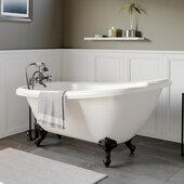 61'' White Acrylic Slipper Clawfoot Bathtub with 7'' Deck Mount Faucet Drillings and Complete Oil Rubbed Bronze Plumbing Package, British Telephone Faucet & Hand Held Shower with 2'' Risers