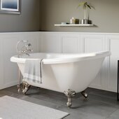 61'' White Acrylic Slipper Clawfoot Bathtub with 7'' Deck Mount Faucet Drillings and Brushed Nickel Feet