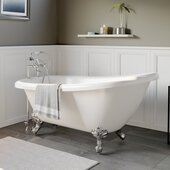 61'' White Acrylic Slipper Clawfoot Bathtub with 7'' Deck Mount Faucet Drillings and Polished Chrome Feet
