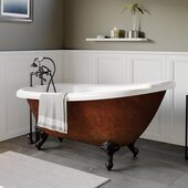 67'' Acrylic Slipper Clawfoot Bathtub with 7'' Deck Mount Faucet Drillings, Faux Copper Bronze Exterior Finish and Oil Rubbed Bronze Feet