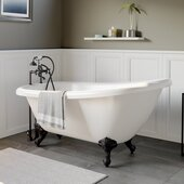 61'' White Acrylic Slipper Clawfoot Bathtub with 7'' Deck Mount Faucet Drillings and Oil Rubbed Bronze Feet