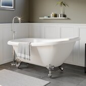 61'' White Acrylic Slipper Clawfoot Bathtub without Faucet Drillings and Polished Chrome Feet