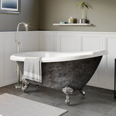 61'' Acrylic Slipper Clawfoot Bathtub with no Faucet Holes, Scorched Platinum Exterior Finish and Polished Chrome Feet