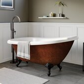 67'' Acrylic Slipper Clawfoot Bathtub with no Faucet Holes, Faux Copper Bronze Exterior Finish and Oil Rubbed Bronze Feet