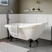 61'' White Acrylic Slipper Clawfoot Bathtub without Faucet Drillings and Oil Rubbed Bronze Feet