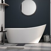 59-3/4'' Acrylic Slipper Pedestal Tub In White, 59-3/4''W x 28''D x 28''H