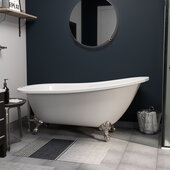 "61'' Extra Wide Acrylic Slipper Tub In White With 7"" Deck Mount and Brushed Nickel Claw Feet, 61''W x 30''D x 31''H"