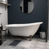 "61'' Extra Wide Acrylic Slipper Tub In White With 7"" Deck Mount and Oil Rubbed Bronze Claw Feet, 61''W x 30''D x 31''H"