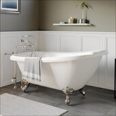 67'' White Acrylic Slipper Clawfoot Bathtub without Faucet Holes and Complete Brushed Nickel Plumbing Package, British Telephone Style Faucet with Hand Held Shower