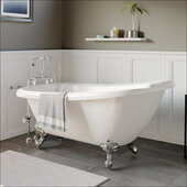 67'' White Acrylic Slipper Clawfoot Bathtub without Faucet Drillings and Oil Rubbed Bronze Feet