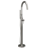 Modern Freestanding Gooseneck Faucet Tub Filler with Shower Wand and Supply Lines, Polished Chrome, 35''W x 12''D x 6''H