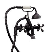 Clawfoot Tub Deck Mount British Telephone Faucet with Hand Held Shower and 2'' Risers, Oil Rubbed Bronze, 13''W x 12''D x 9''H